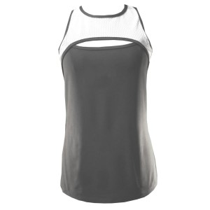 Rhapso Designs Contrast Mesh Scoop Hole Womens Training Tank Top - White/Grey