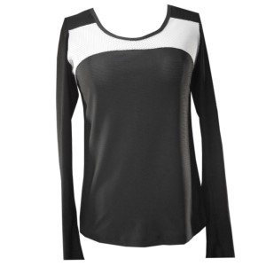 Rhapso Designs Scoop Neck Mesh Womens Training Top - Black/White